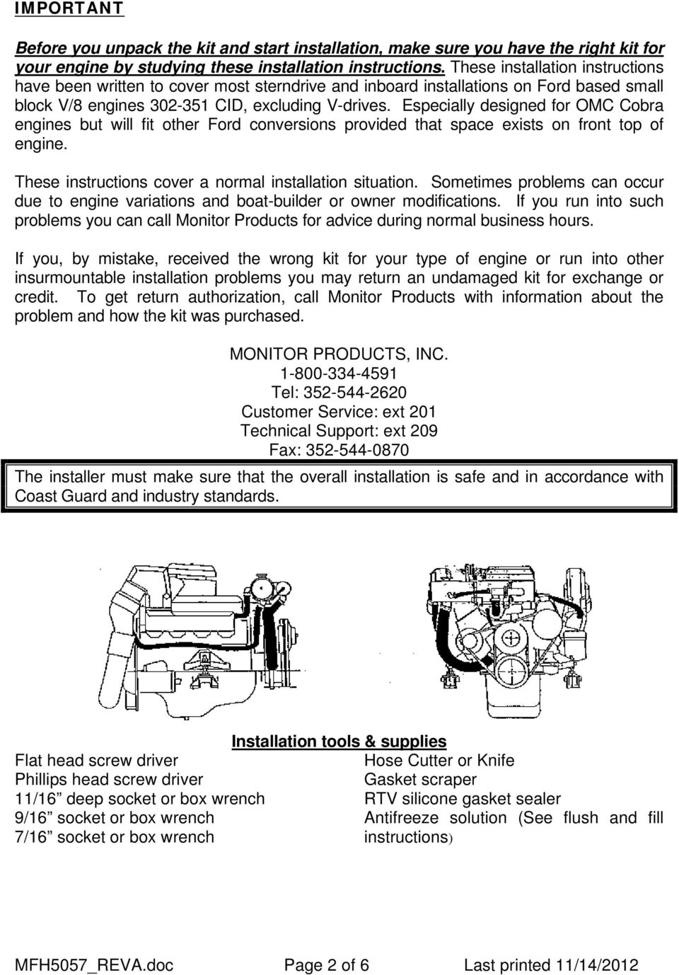 MFH-5057 Ford Small-Block V-8 Fresh Water Cooling Kit Instructions - PDF