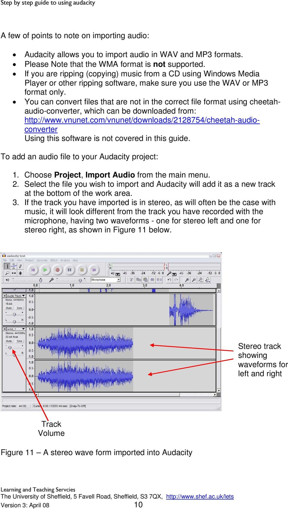 Step by step guide to using Audacity - PDF
