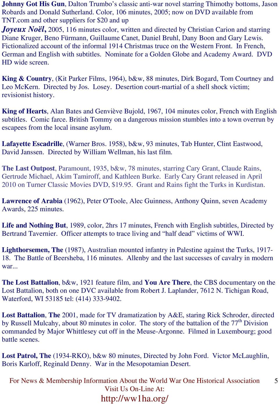World War One Films And Videos Pdf