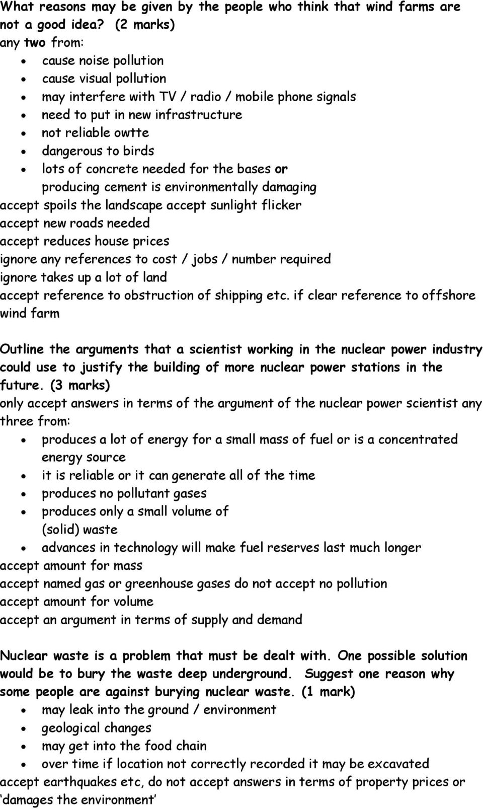 A Model Answers Physics P1 Pdf Potato Battery Diagram Images Frompo Of Concrete Needed F The Bases Producing Cement Is Environmentally Damaging Accept Spoils Landscape