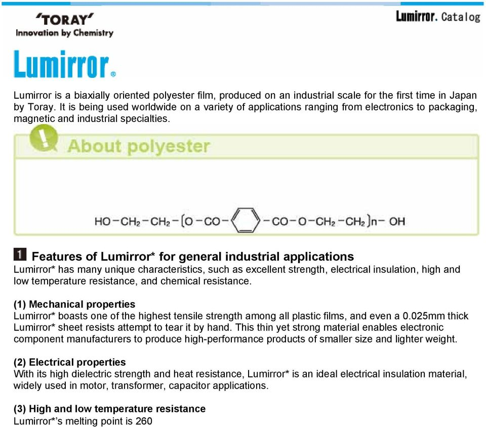 Features Of Lumirror For General Industrial Applications