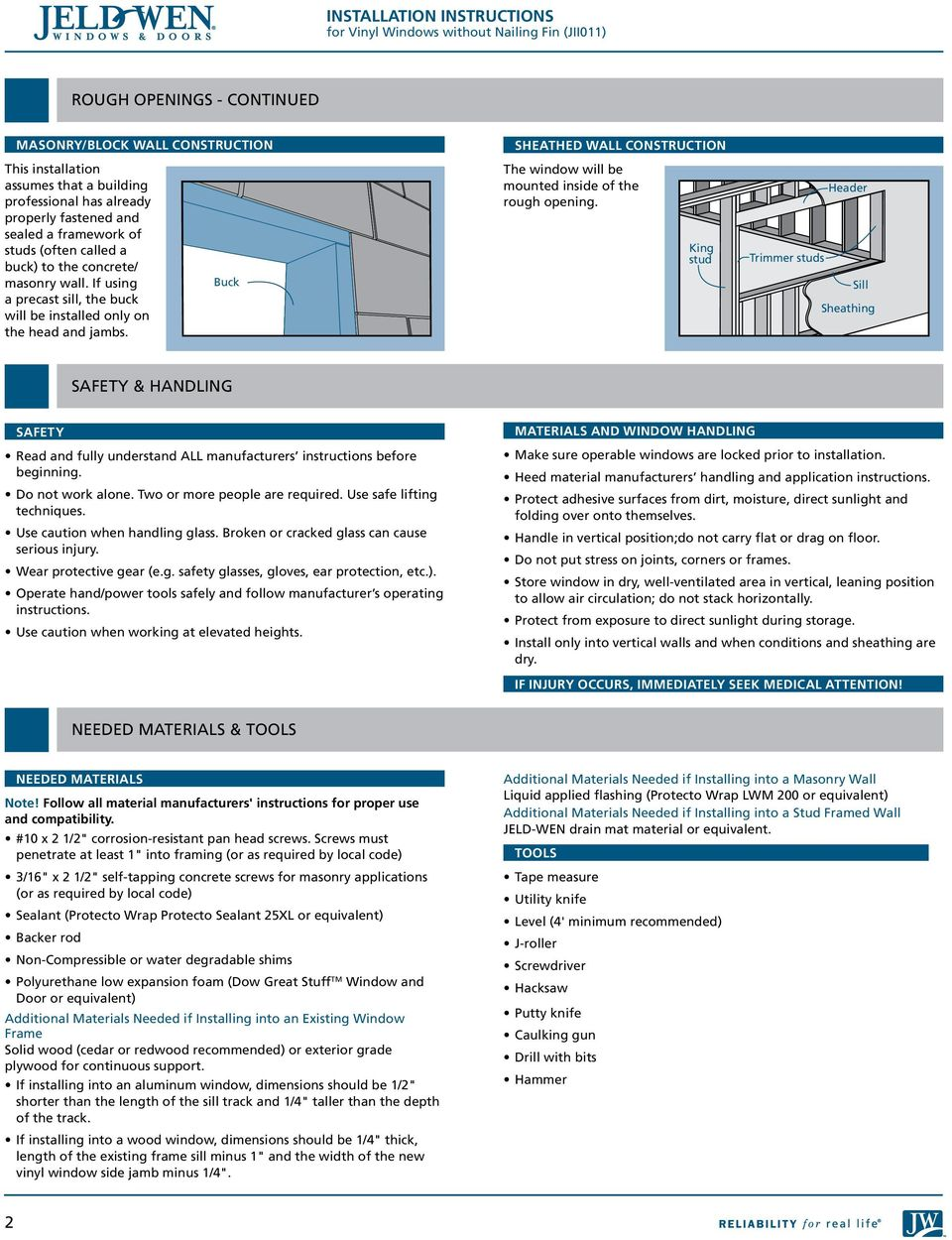INSTALLATION INSTRUCTIONS for Vinyl Windows without Nailing Fin