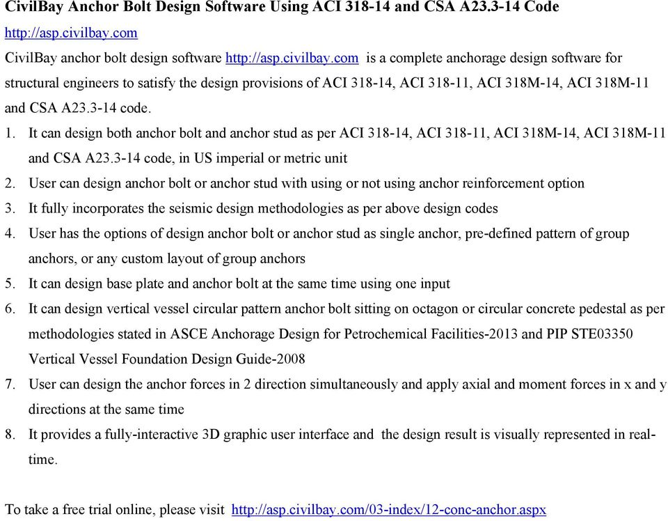 CivilBay Anchor Bolt Design Software Using ACI and CSA A