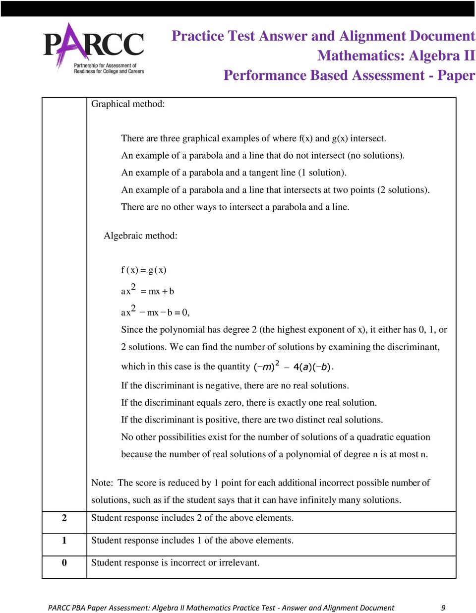 Practice Test Answer and Alignment Document Mathematics: Algebra II