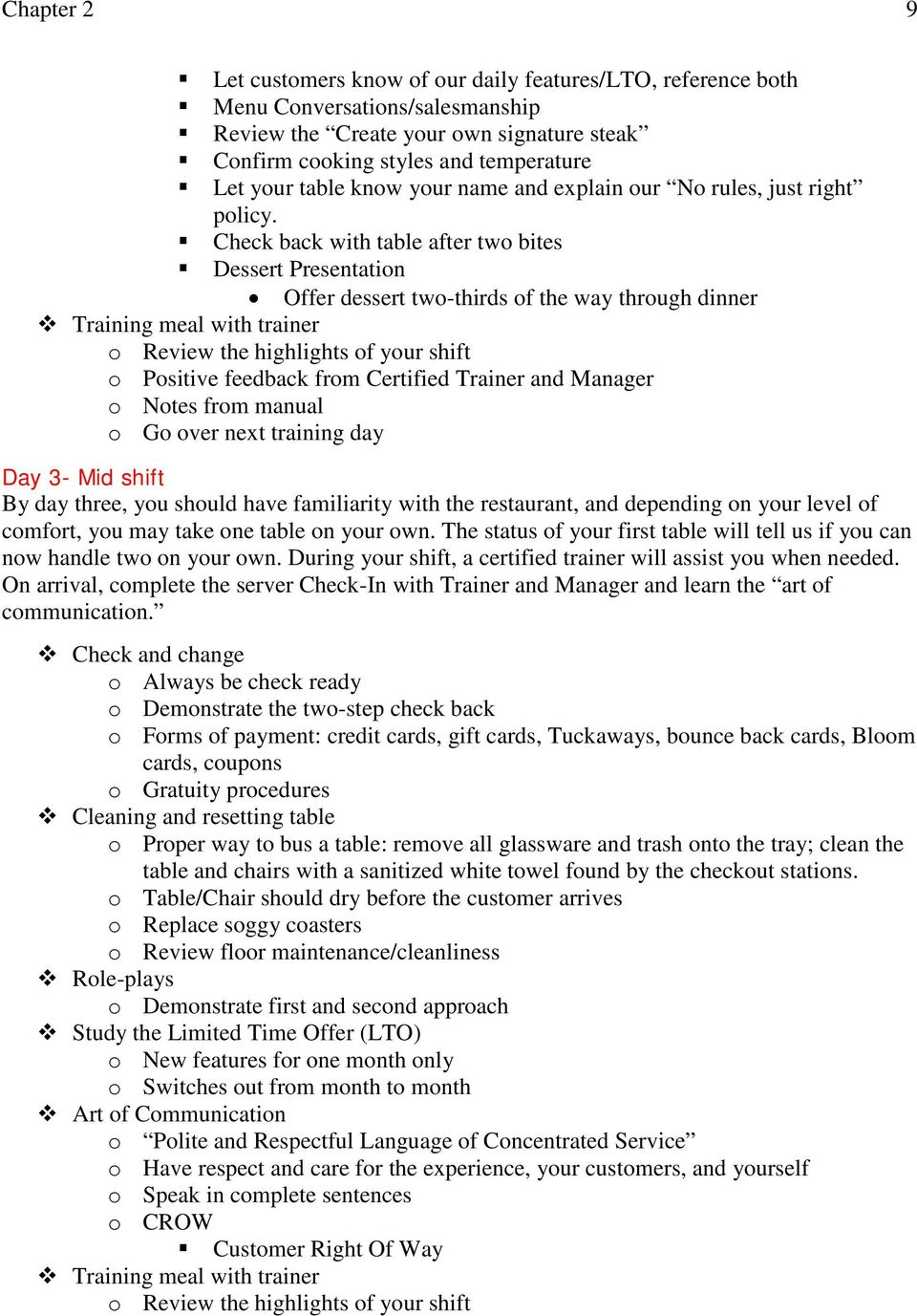 Check back with table after two bites Dessert Presentation Offer dessert  two-thirds of the. 16 10 Outback Server Training Manual ...