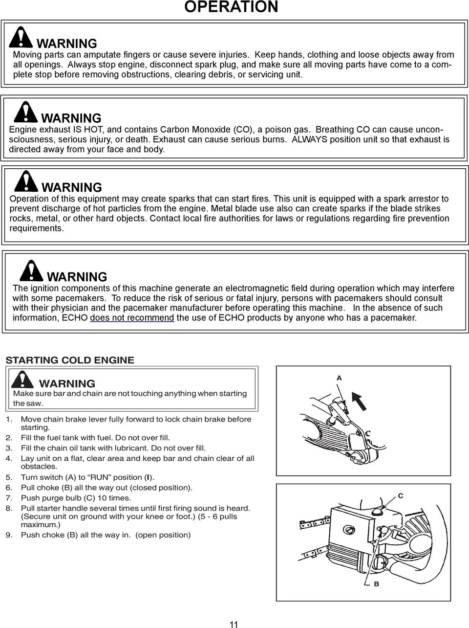 Chain Saw Instruction Manual Pdf Wildfire Scooter Kick Stand Saftey Switch Wiring Diagram Warning Engine Exhaust Is Hot And Contains Carbon Monoxide Co A Poison
