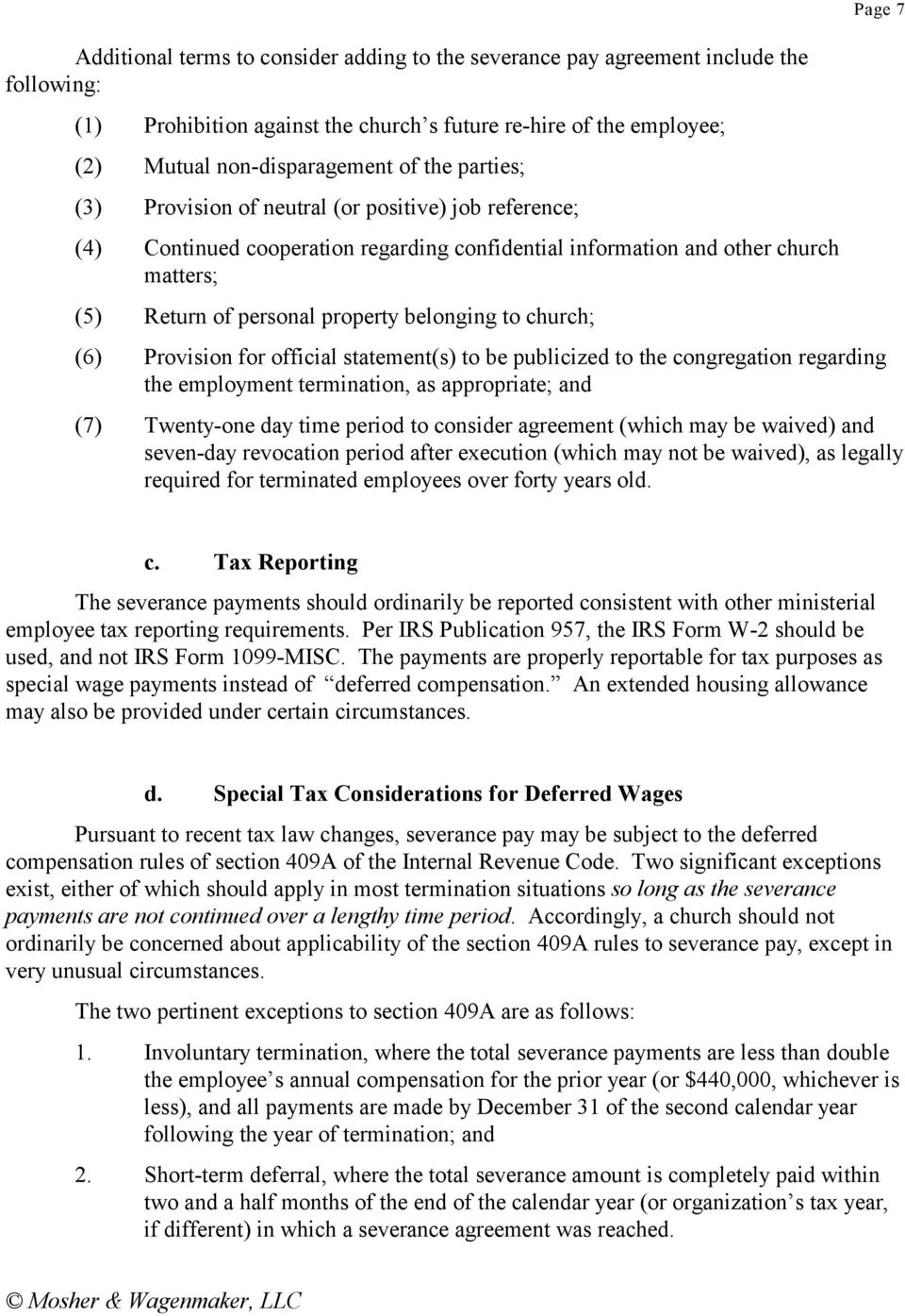 Church Employees And Severance Pay Pdf