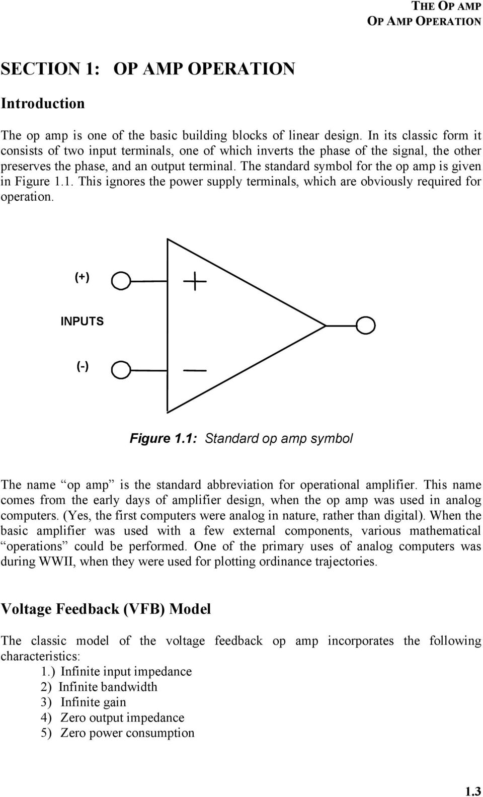 Chapter 1 The Op Amp Pdf 741 Opamp Tutorial Opamps Operational Amplifier Standard Symbol For Is Given In Figure 11 This Ignores