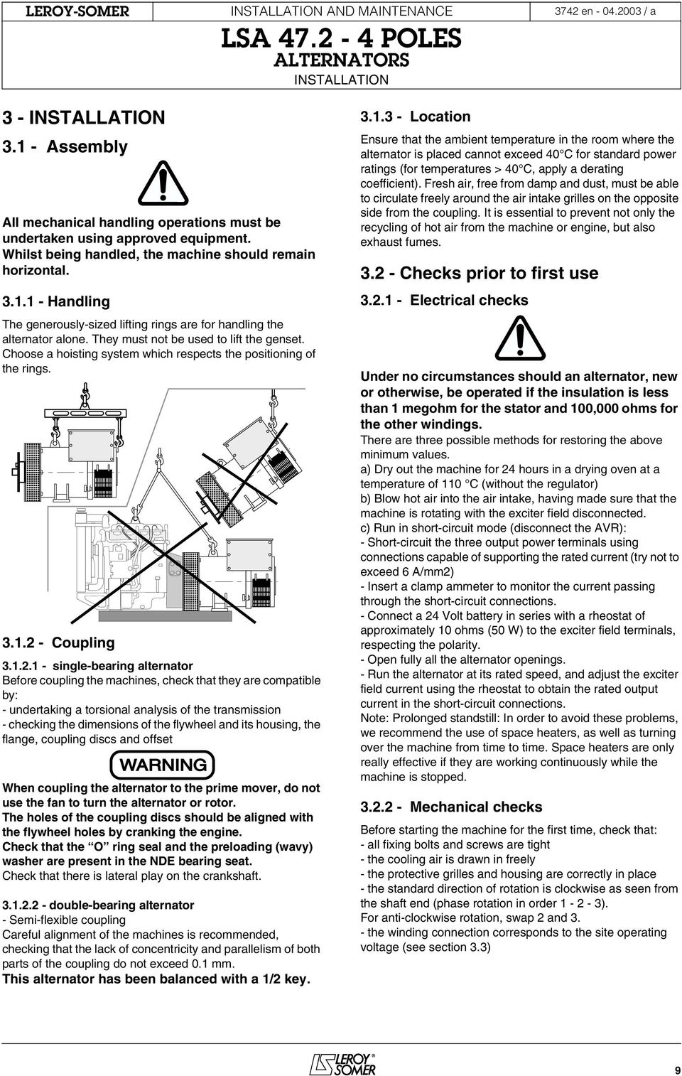 Users Guide And Maintenance Manual Leroy Somer Alternators Lsa Parts Diagram Alternator Mounting Coupling 312 11 Installation Terminal Connection Diagrams