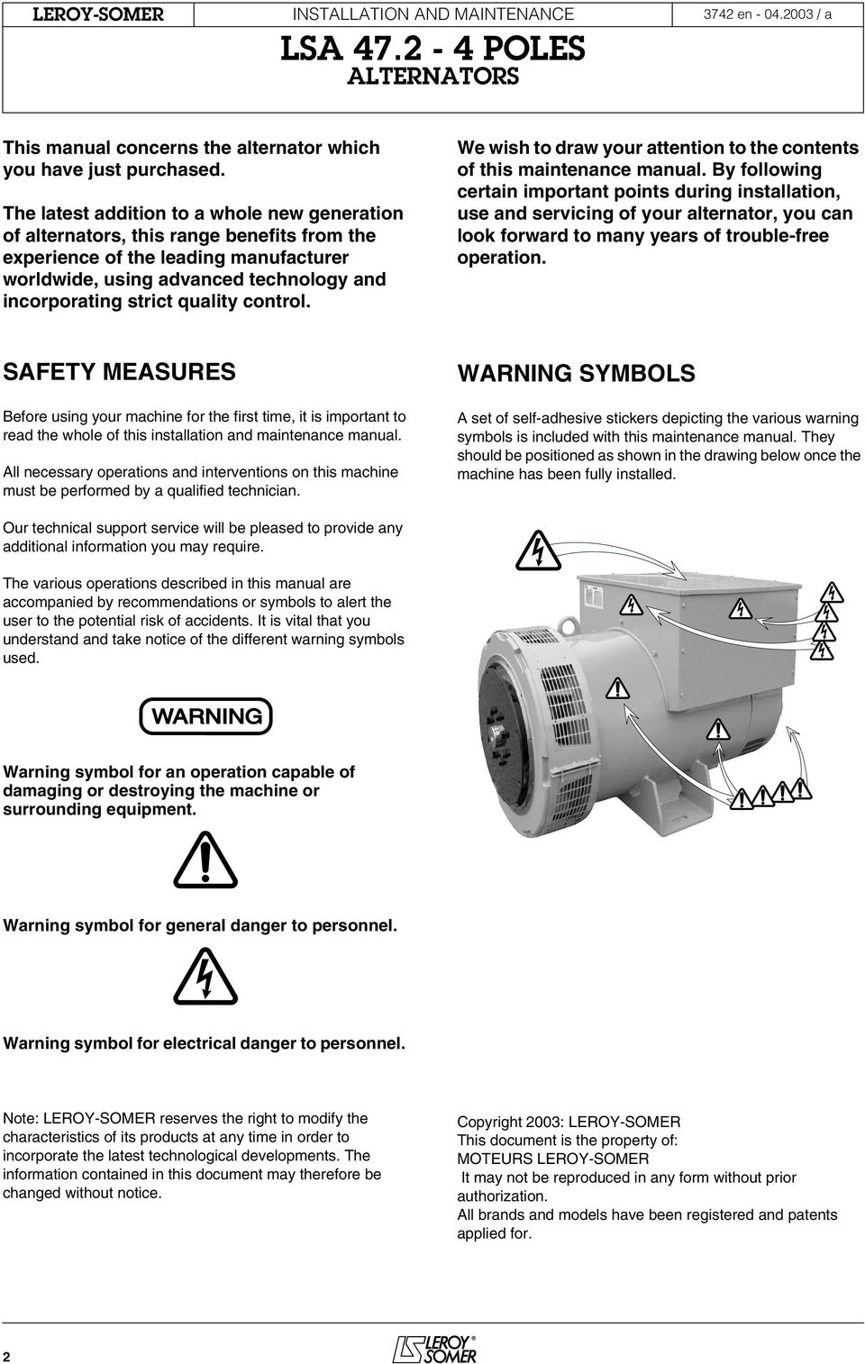 Users Guide And Maintenance Manual Leroy Somer Alternators Lsa Diesel Alternator Wiring Instruction Diagram Reference We Wish To Draw Your Attention The Contents Of This