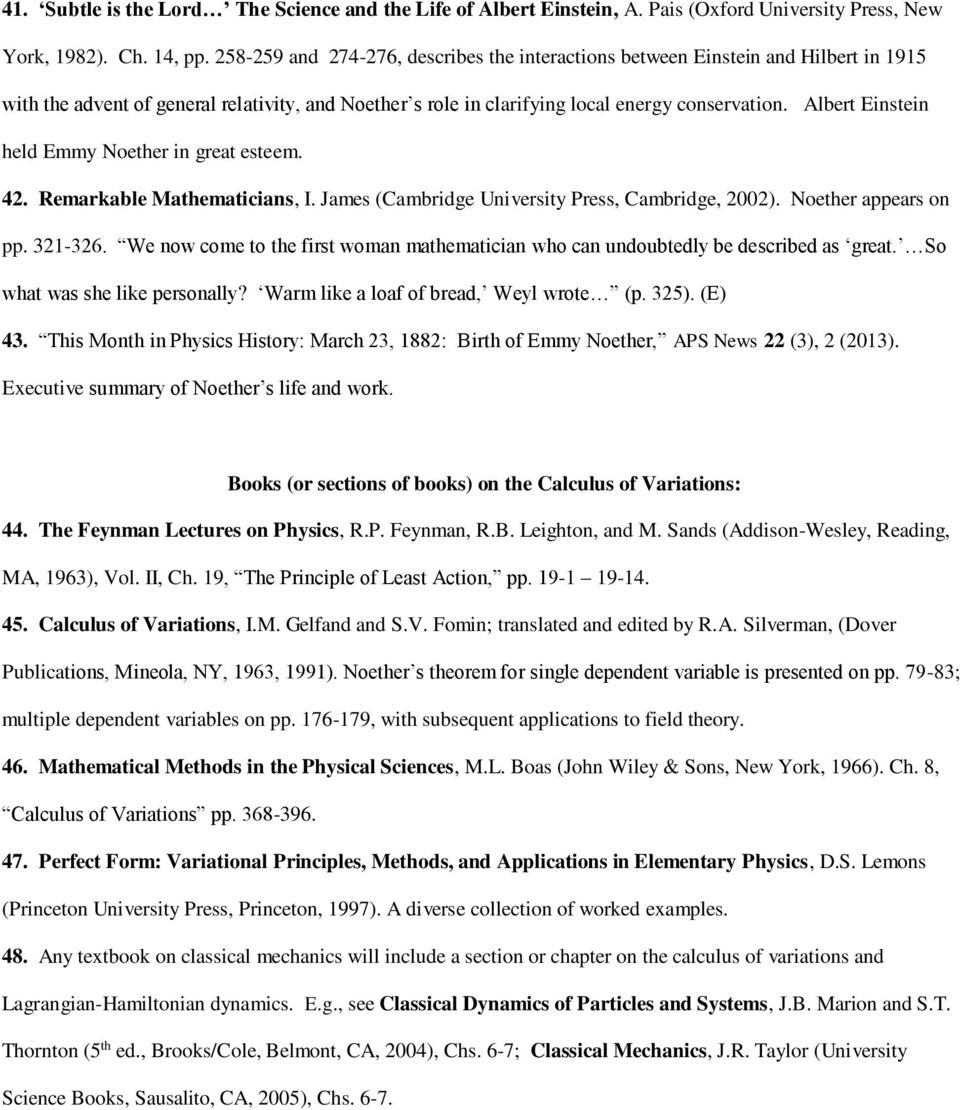 Noether s Theorem: Summary and Sources - PDF