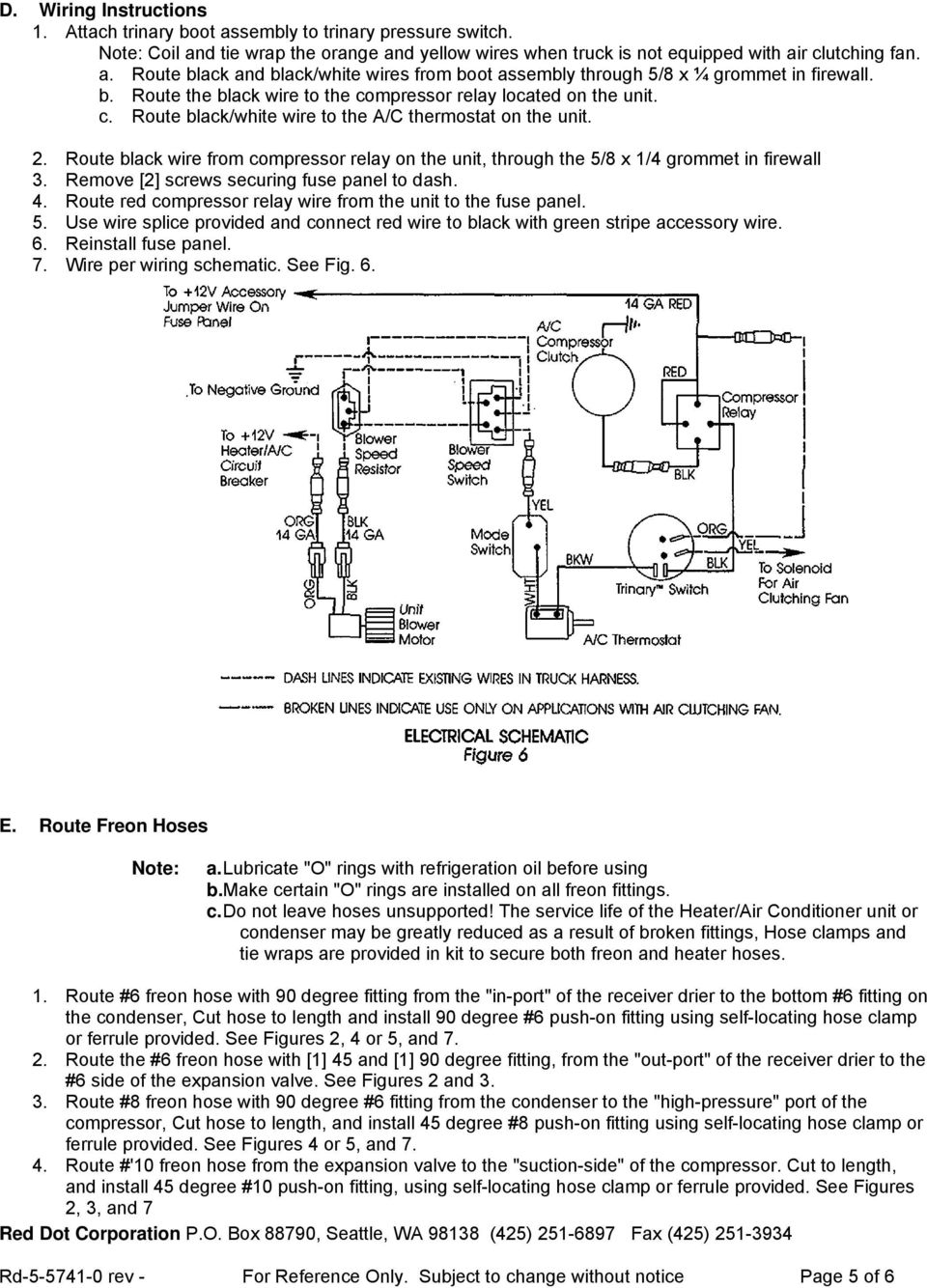 R 8600 Underdash Drop In Evaporator Pdf Wire Ring Diagram Ac Route Black From Compressor Relay On The Unit Through 5 8 X