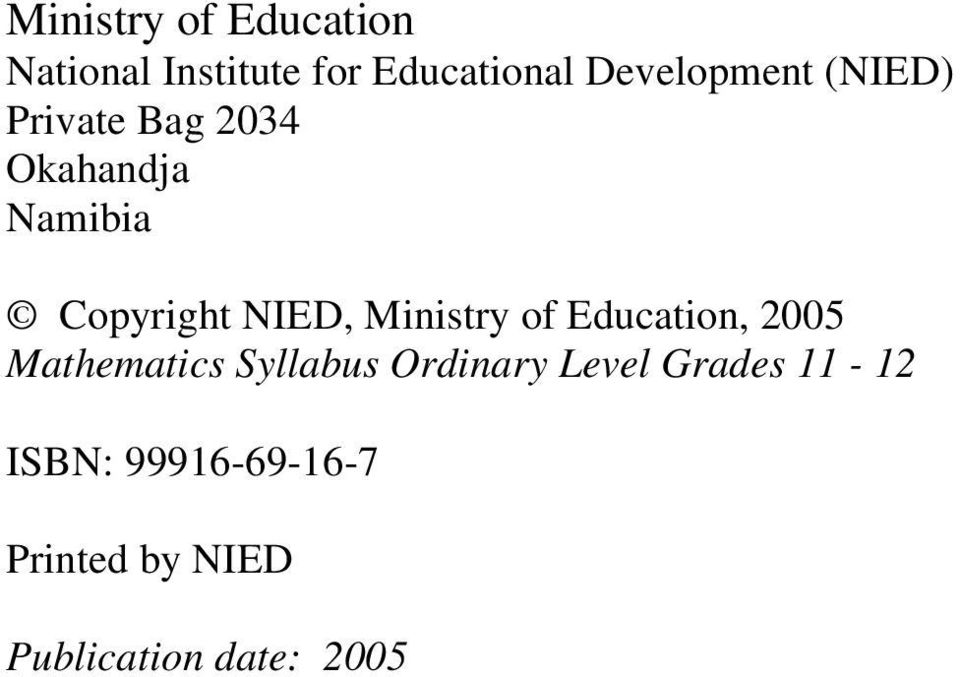 MINISTRY OF EDUCATION PDF