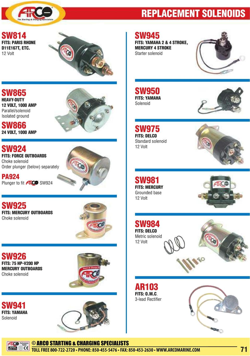 Replacement Solenoids Pdf 75 Hp Force Outboard Diagram Wiring Schematic Choke Solenoid Sw926 Fits V200 Mercury Outboards Sw950