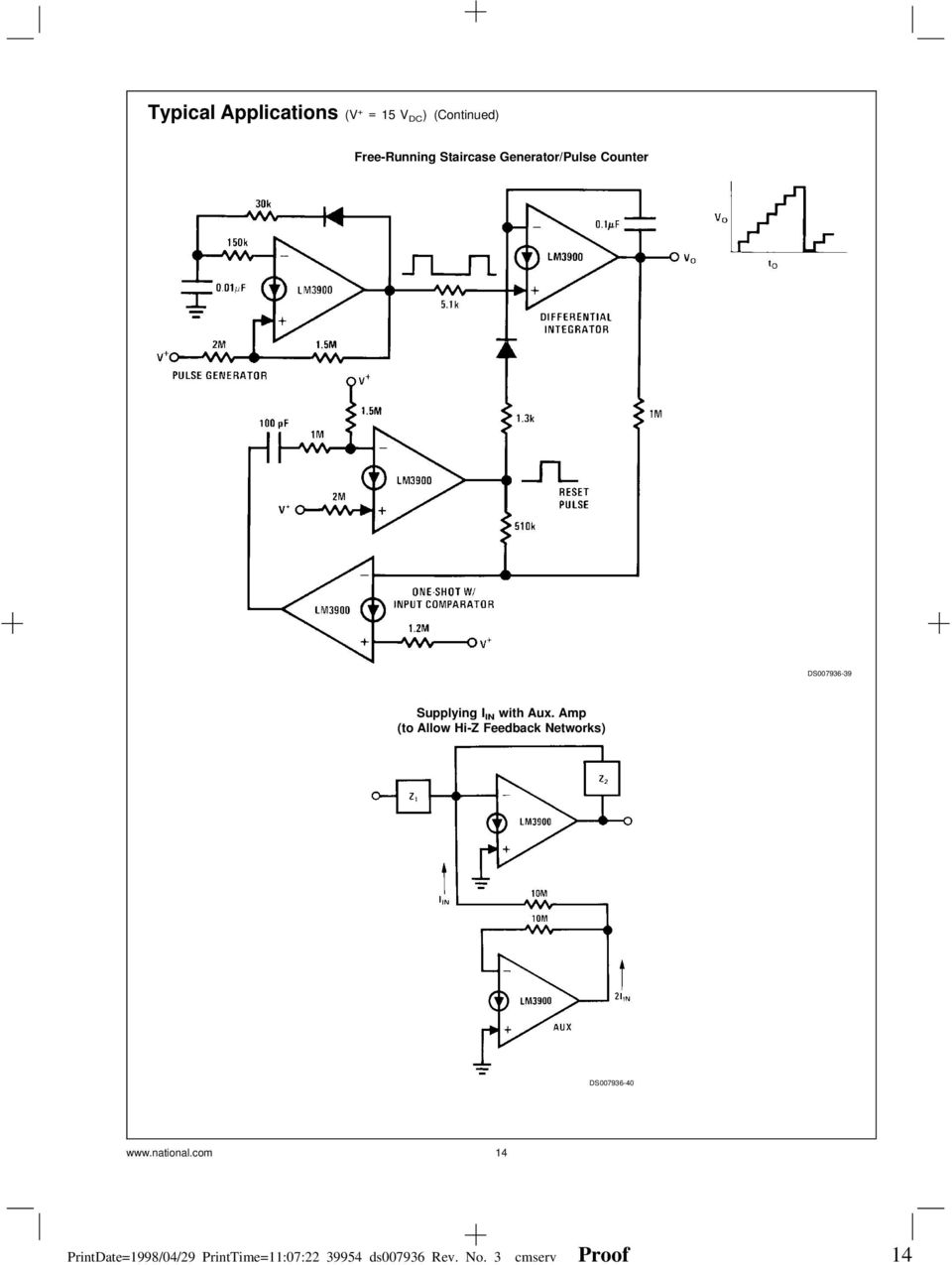 Lm2900lm3301lm3900 Lm2900 Lm3900 Lm3301 Quad Amplifiers Tone Control Circuit Diagrams And Using Audio Amplifier Ic Tl082 Amp To Allow Hi Z Feedback Networks Ds007936 40