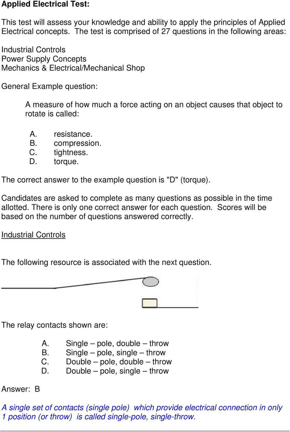 Gentech Practice Questions Pdf Electrical Relay Quiz Acting On An Object Causes That To Rotate Is Called A Resistance