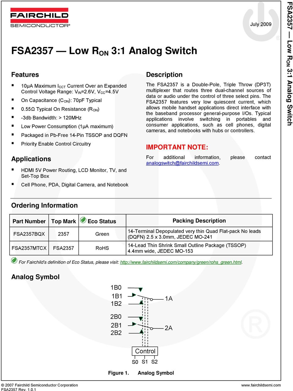 Description For Fairchild S Definition Of Eco Status Please Visit Wide Input Range Analog Mux Routing Lcd Monitor Tv And Set Top Box Cell Phone Pda