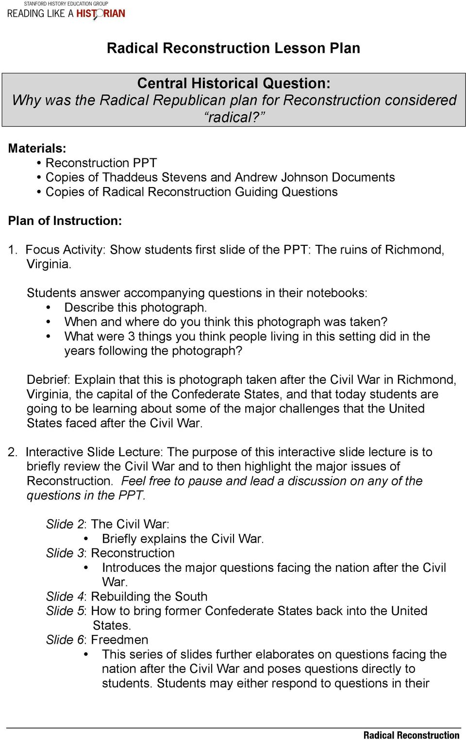 Radical Reconstruction Lesson Plan. Central Historical Question: Why ...