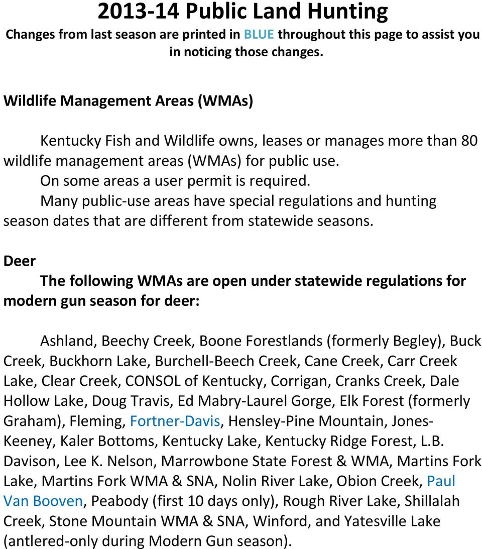 Public Land Hunting Changes from last season are printed in