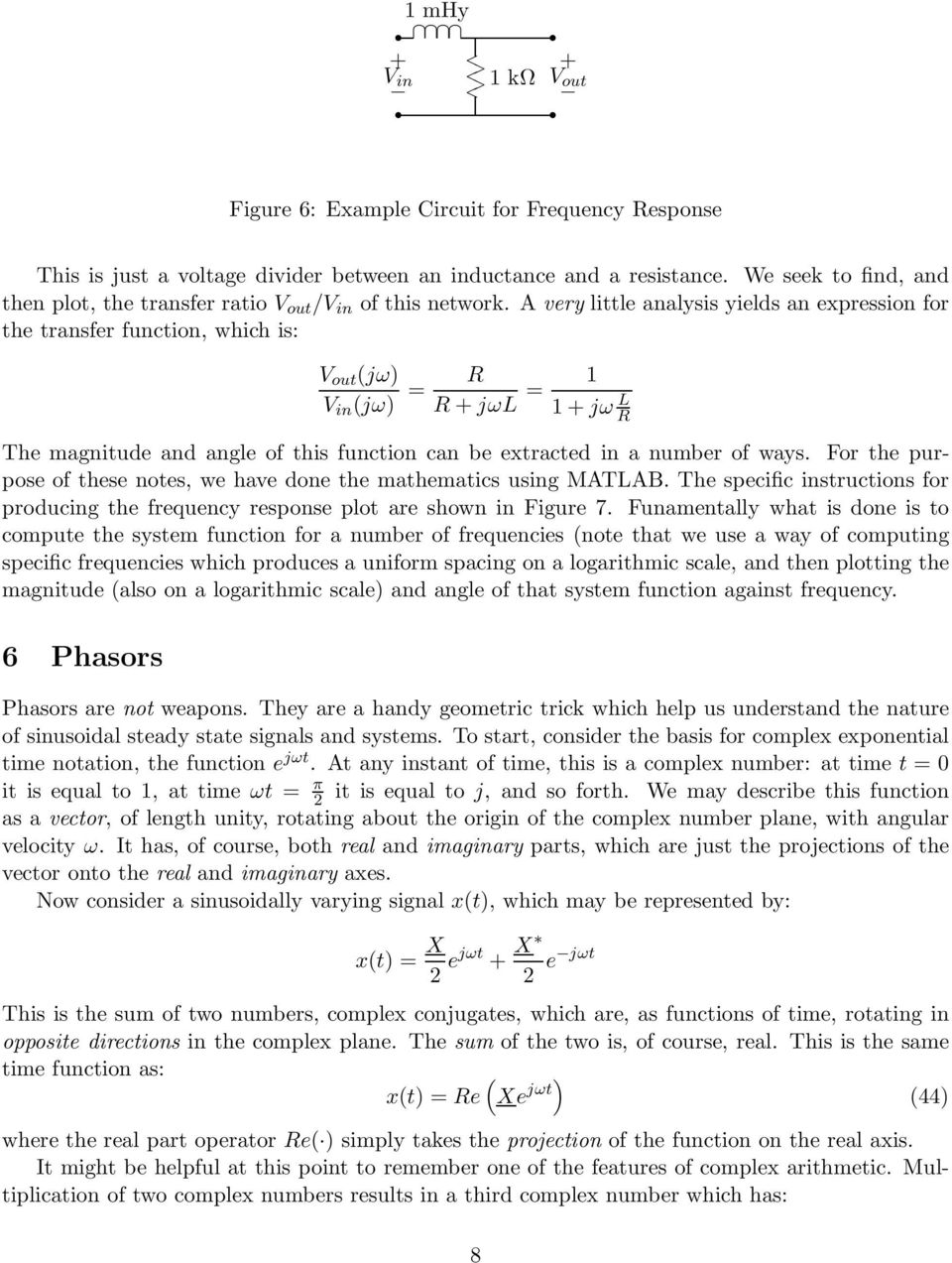 1 Introduction 2 Complex Exponential Notation Jl Kirtley Jr Pdf Electronic Circuit Analysis Jntu Notes A Very Little Yields An Expression For The Transfer Function Which Is V
