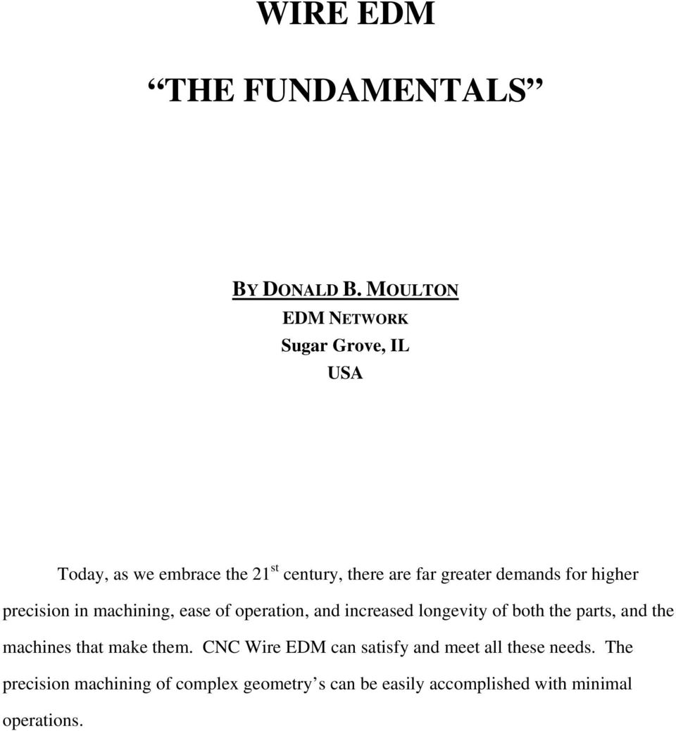 Wire Edm The Fundamentals Pdf Of House Wiring Transcription