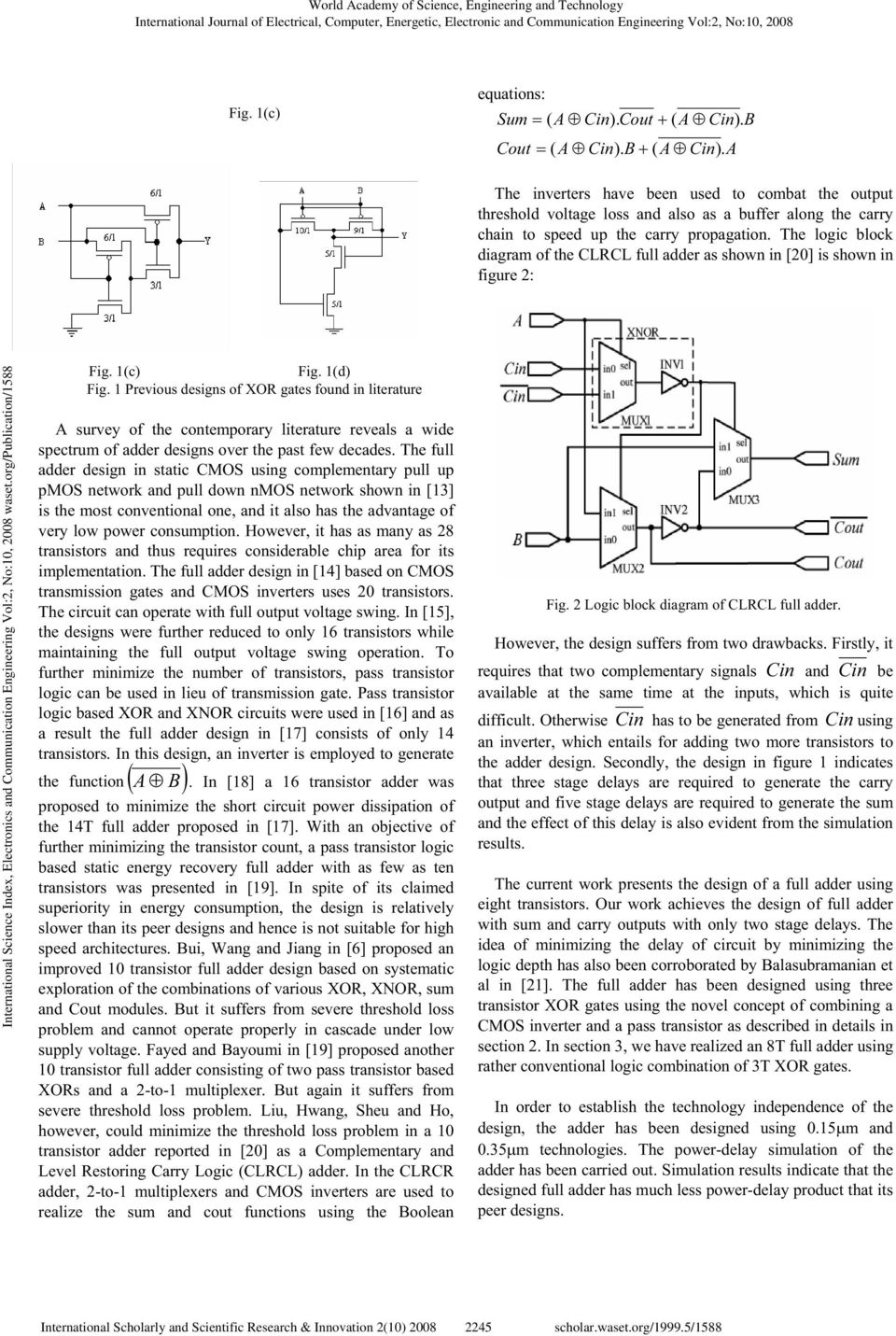 A High Speed 8 Transistor Full Adder Design Using Novel 3 Logic Diagram Xor The Block Of Clrcl As Shown In 20 Is