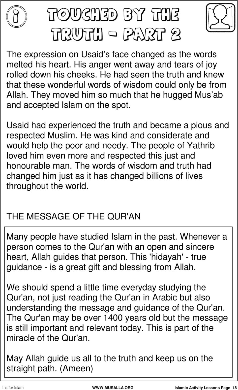 Islamic Activity Lessons Page 1 - PDF