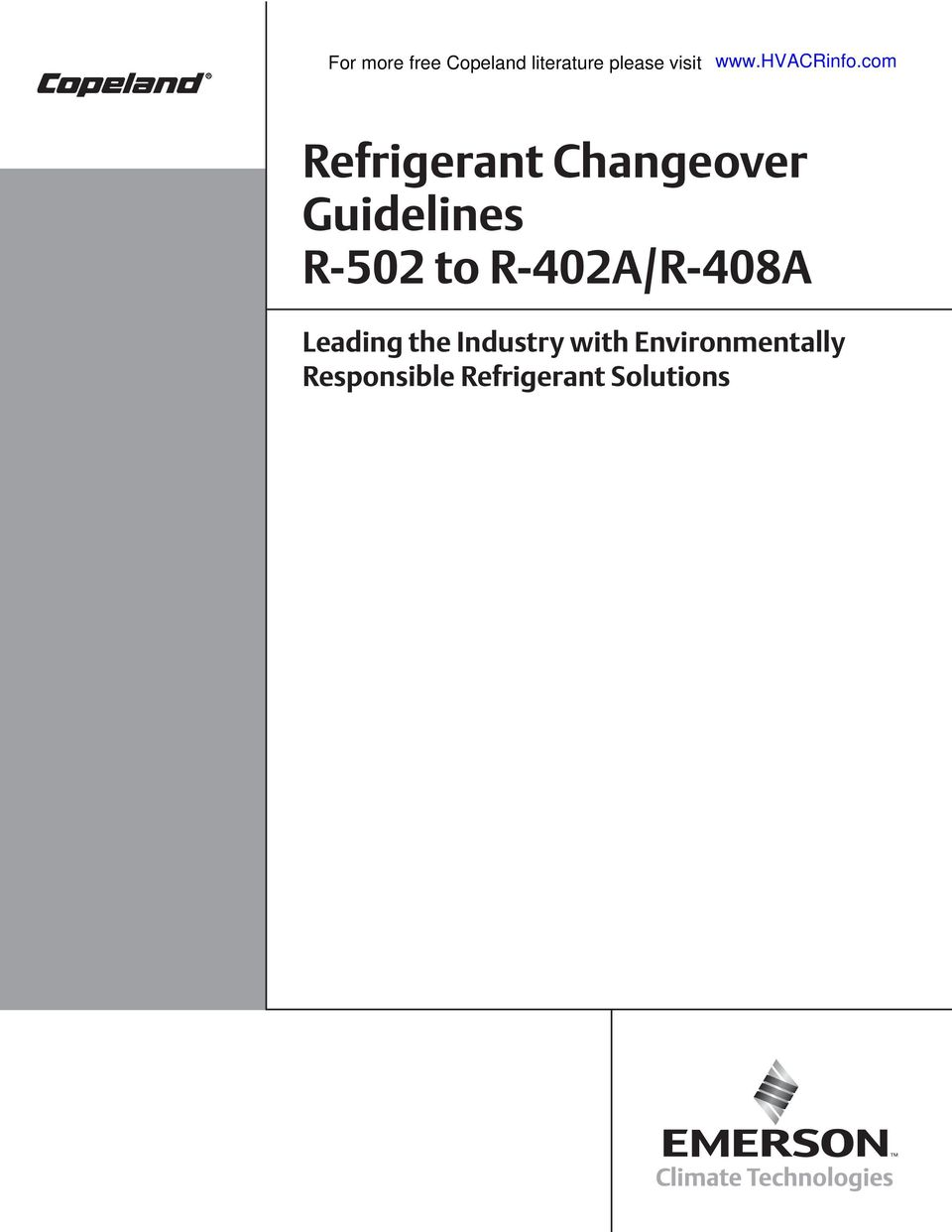 Refrigerant Changeover Guidelines R-502 to R-402A/R-408A