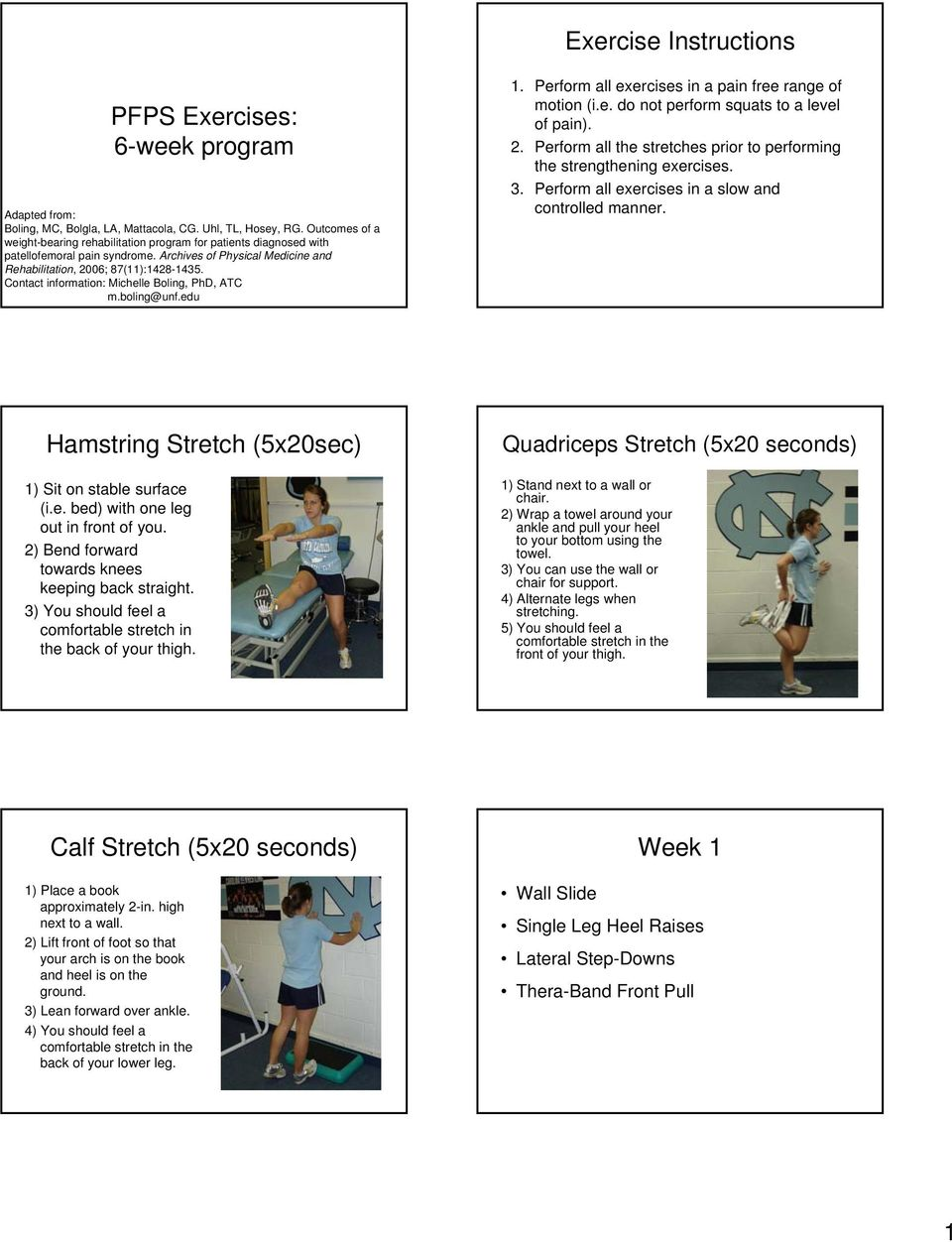Exercise Instructions Pfps Exercises 6 Week Program Hamstring Stretch 5x20sec Week 1 Calf Stretch 5x20 Seconds Pdf Free Download