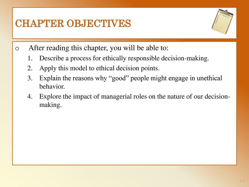 Chapter 2 ETHICAL DECISION-MAKING: PERSONAL AND PROFESSIONAL