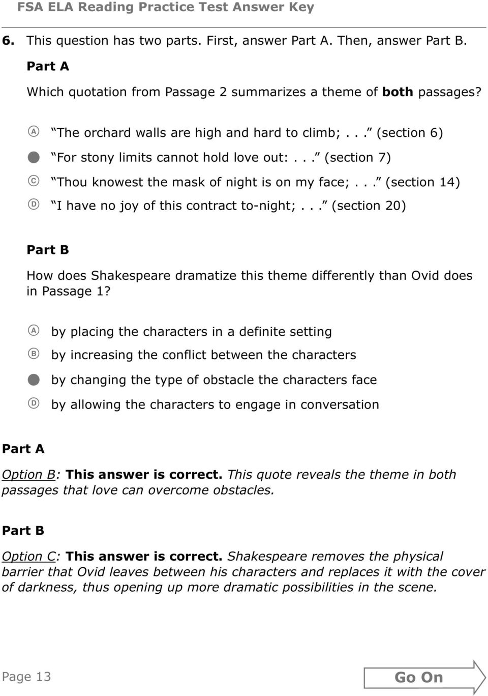 Grade 10 Fsa Ela Reading Practice Test Answer Key Pdf