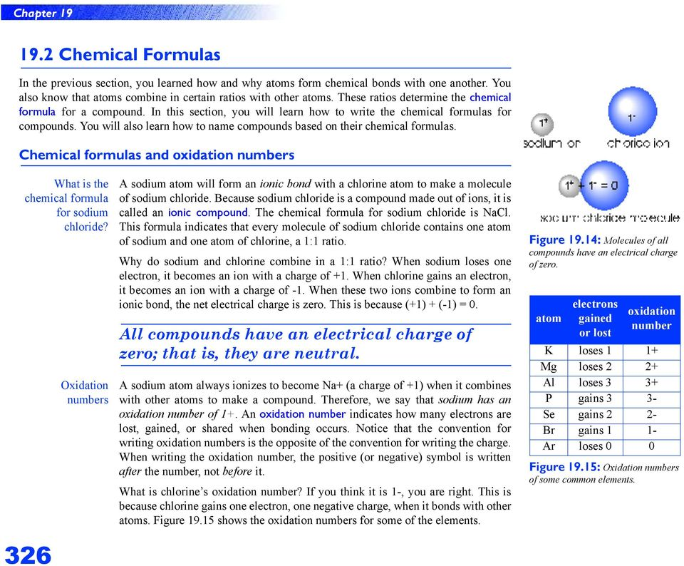 You will also learn how to name compounds based on their chemical formulas. Chemical formulas and oxidation numbers What is the chemical formula for sodium chloride?