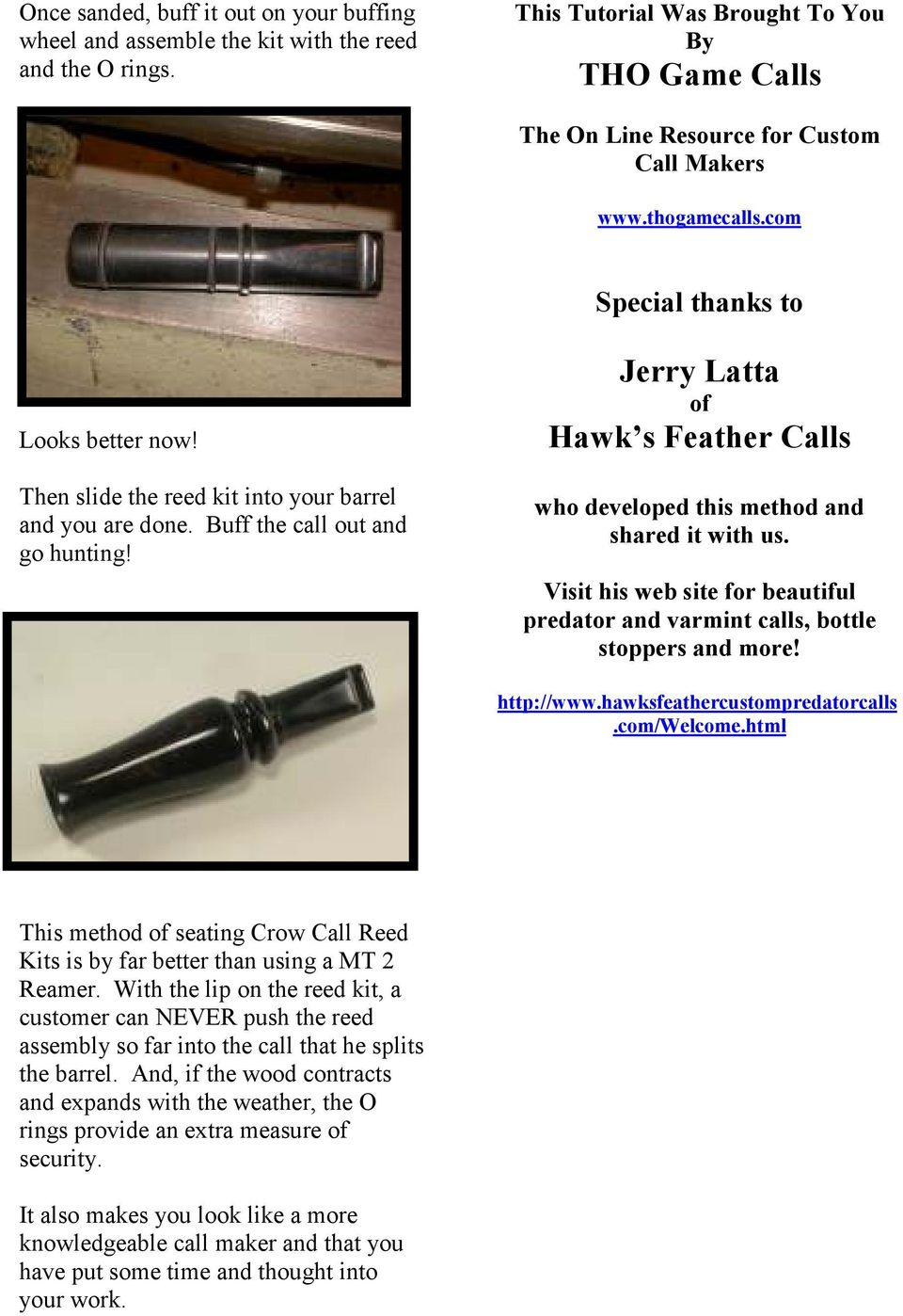 Turning Crow Calls -The Latta Method- - PDF
