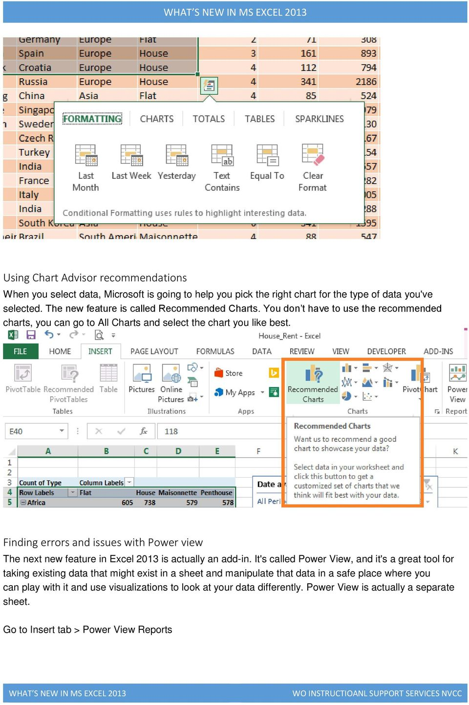 Finding errors and issues with Power view The next new feature in Excel 2013 is actually an add-in.
