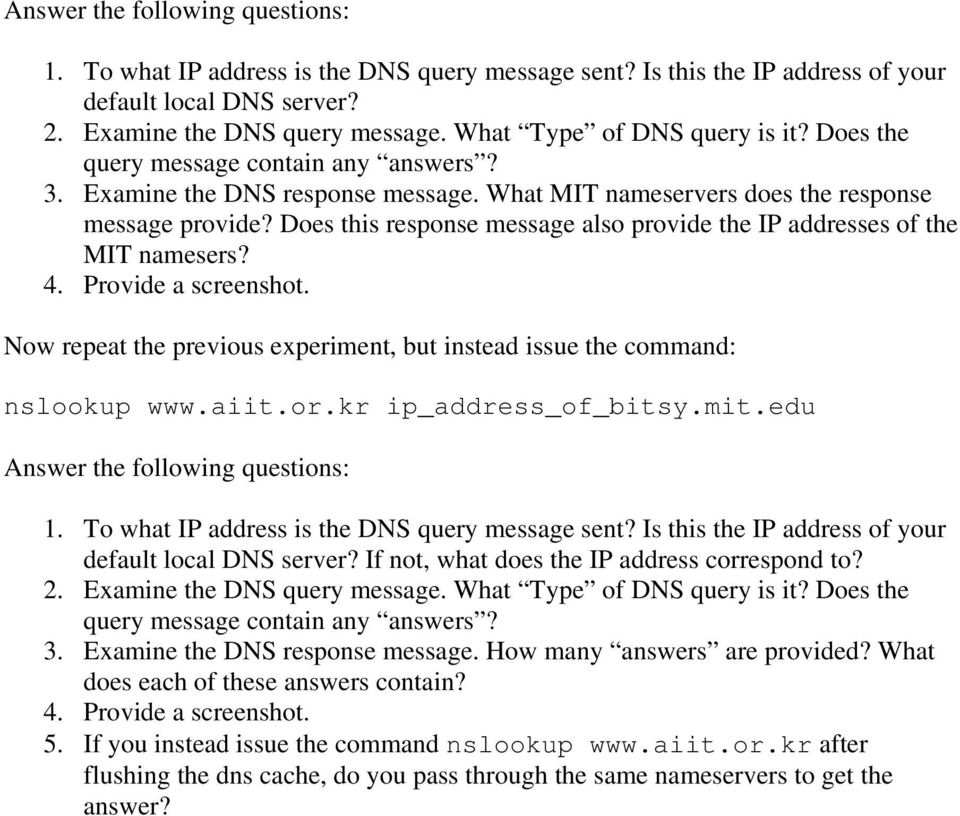Ethereal Lab: DNS  1  nslookup - PDF