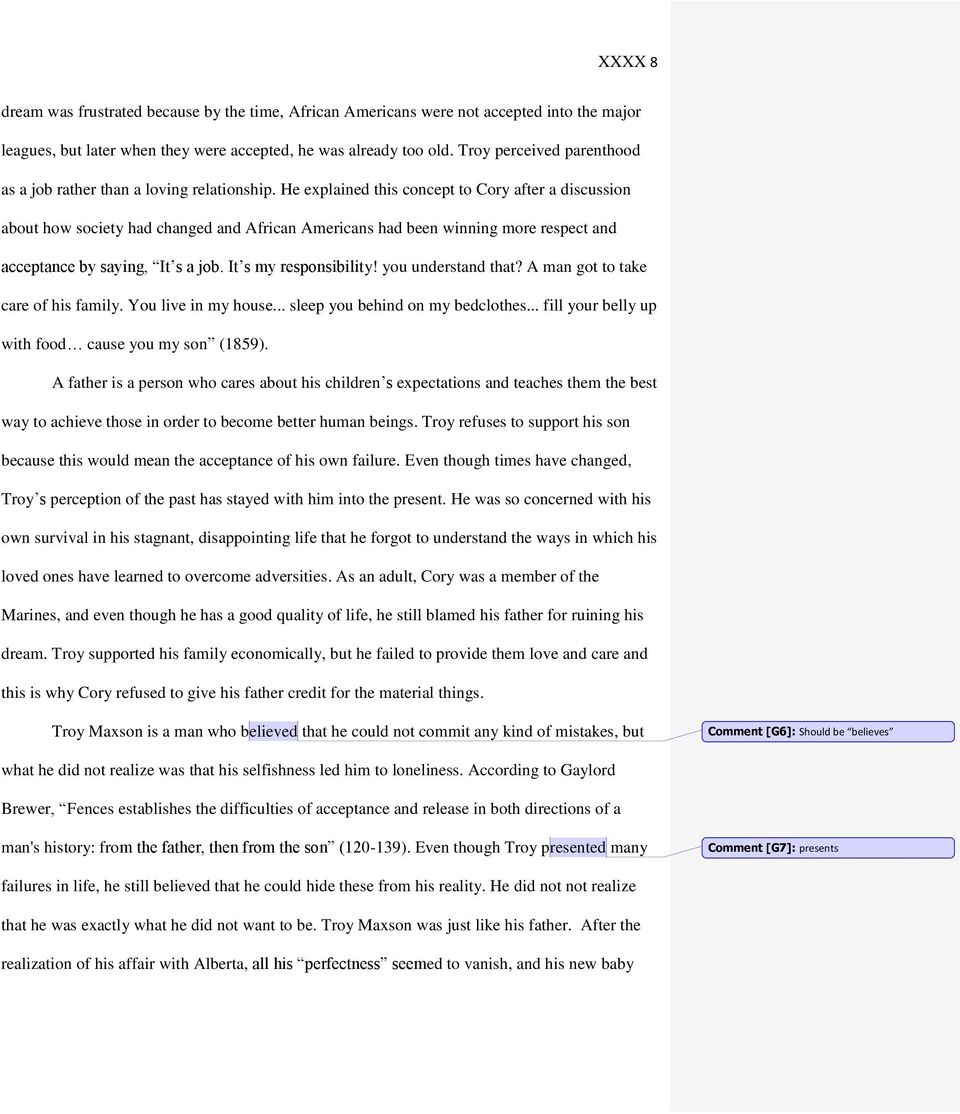 essay on fences troy and corys relationship