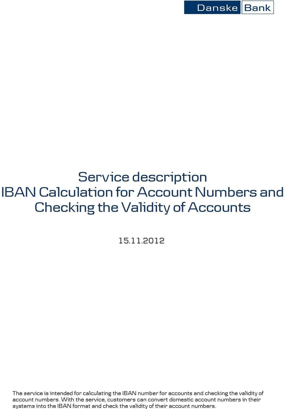 2017 The Service Is Intended For Calculating Iban Number Accounts And Checking