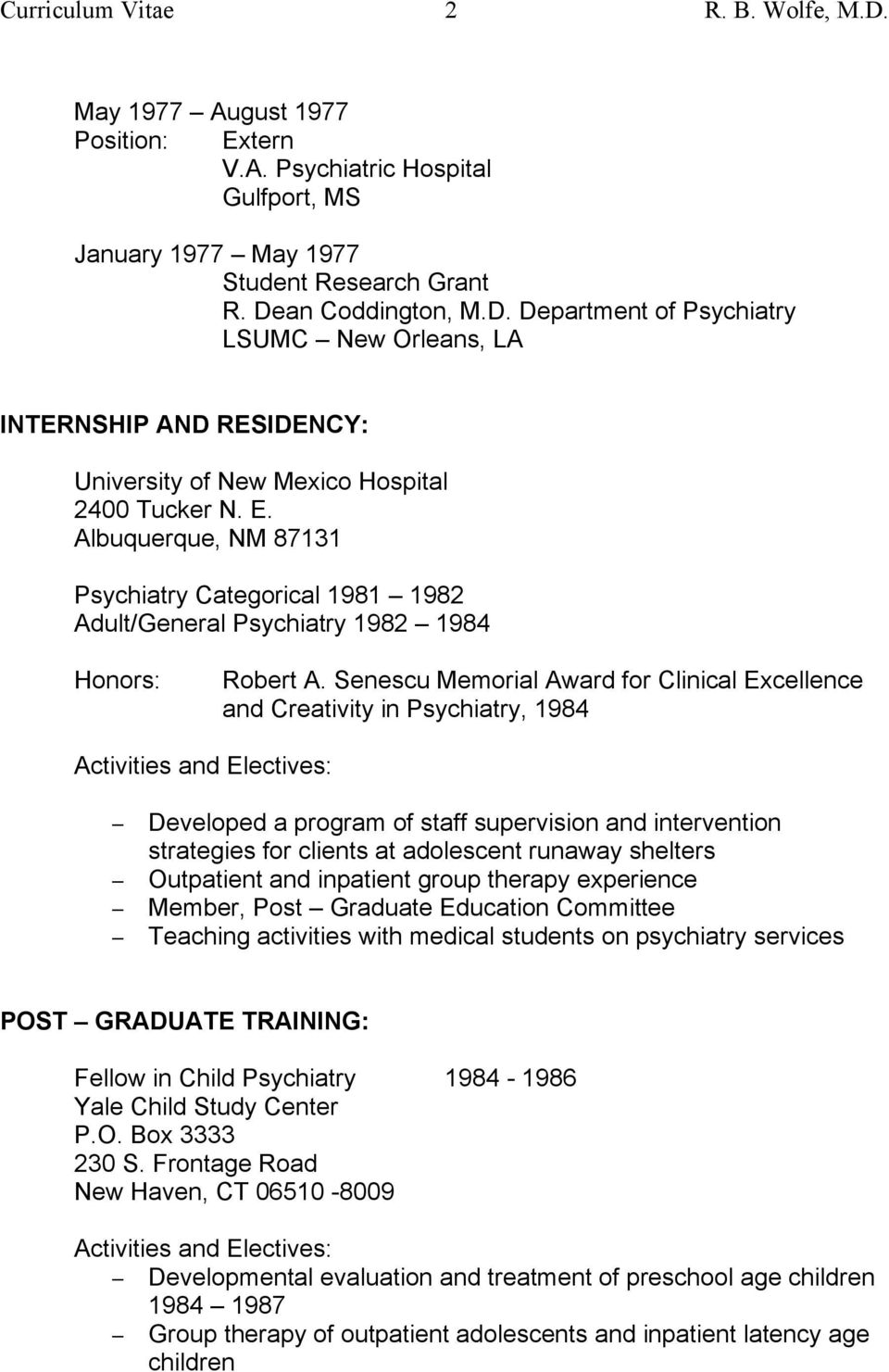 Russell B Wolfe, M D  Child, Adolescent and Adult Psychiatry 831