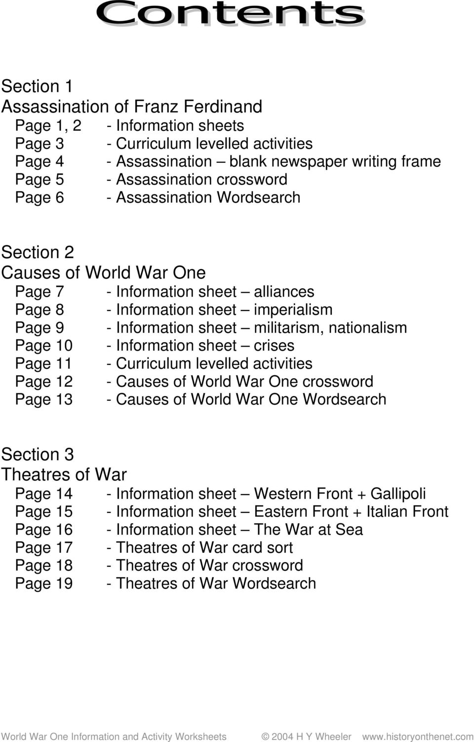 World War One Information and Activity Worksheets - PDF