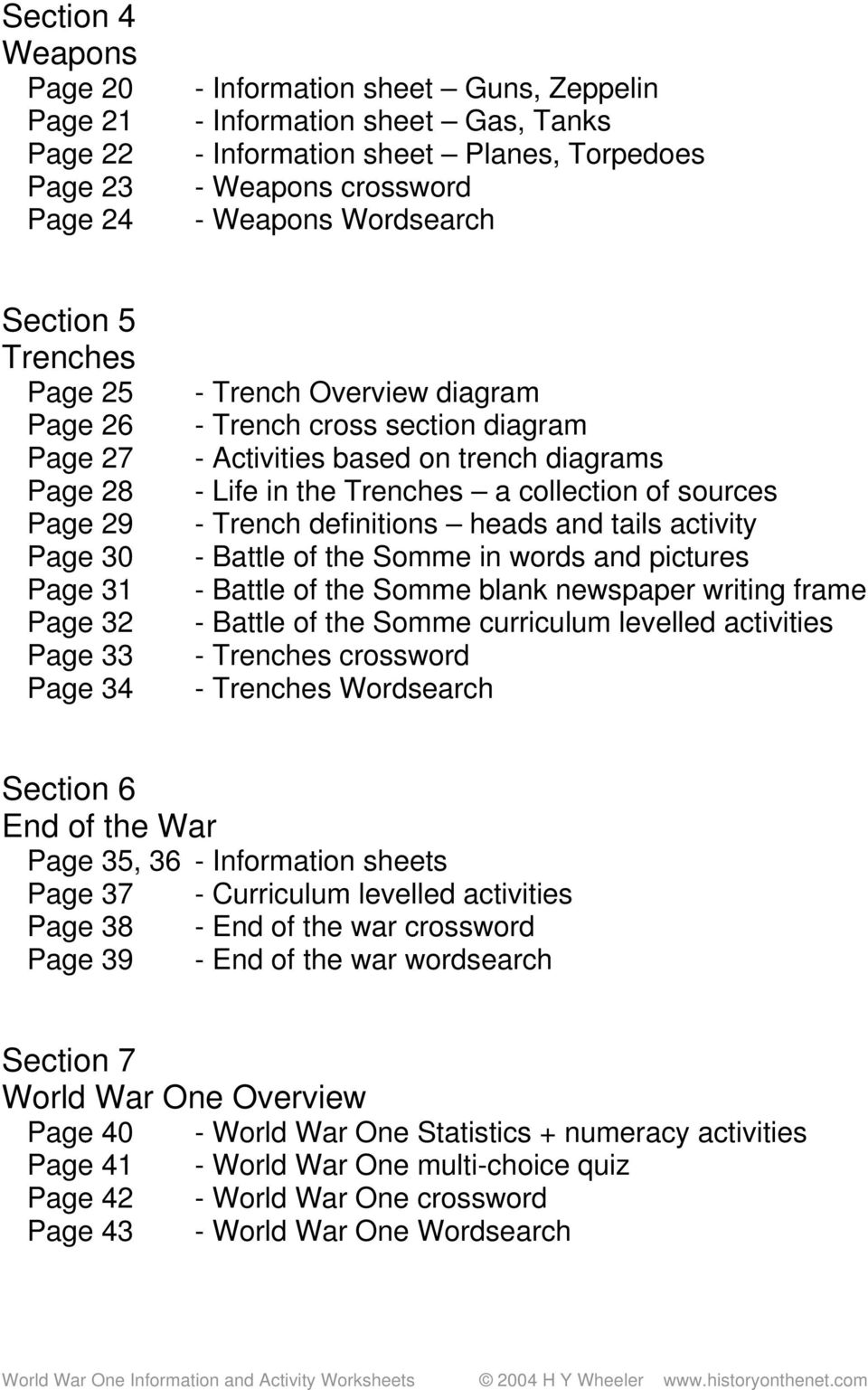 World War One Information And Activity Worksheets Pdf