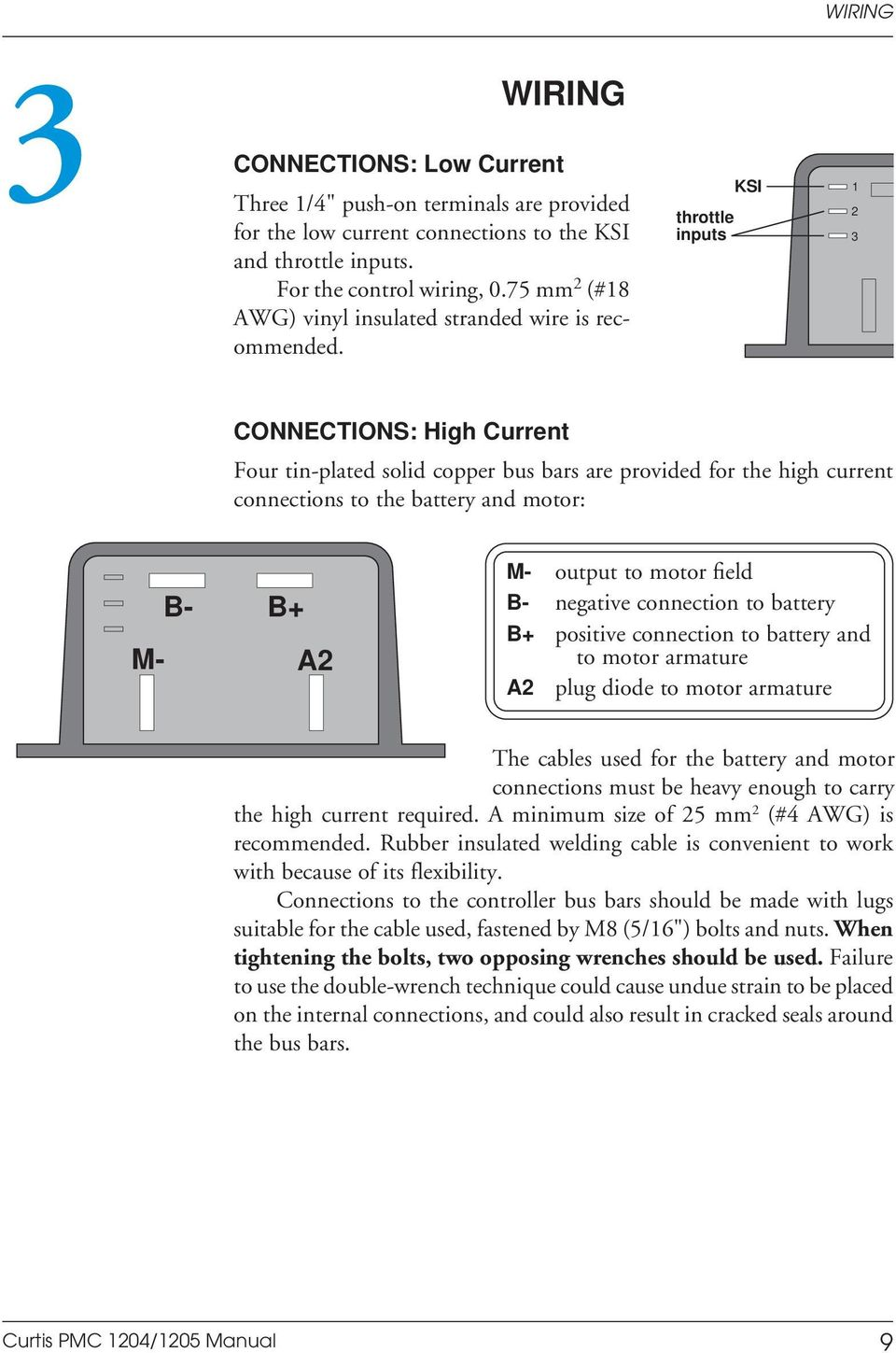 Manual 1204 5 Motor Controllers Curtis Pmc Pdf Dc Controller Wiring Diagram Repalcement Parts Throttle 2 Inputs 3 1 Connections High Current Four Tin Plated Solid Copper Bus 16 Control