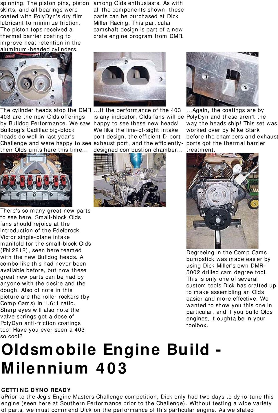 Oldsmobile Engine Build Milennium 403 Dick Miller Builds A Cooling Diagram As With All The Components Shown These Parts Can Be Purchased At Racing