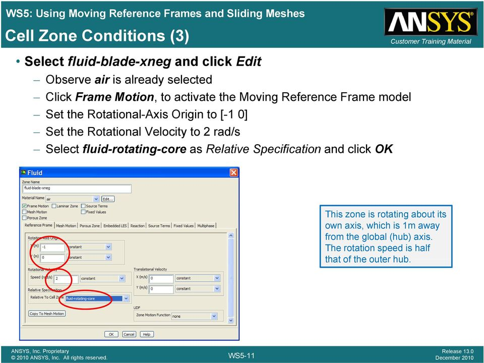 ANSYS FLUENT  Using Moving Reference Frames and Sliding Meshes WS5-1