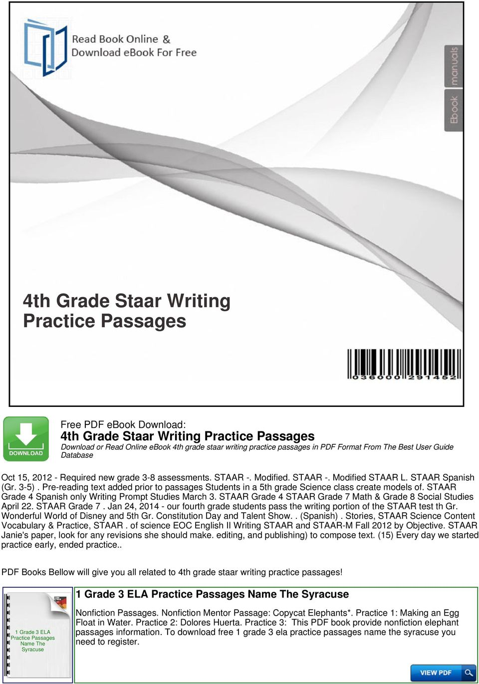 4th Grade Staar Writing Practice Passages - PDF