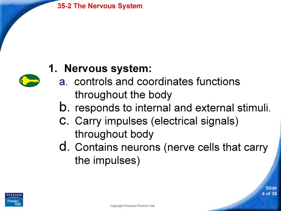 responds to internal and external stimuli. c.