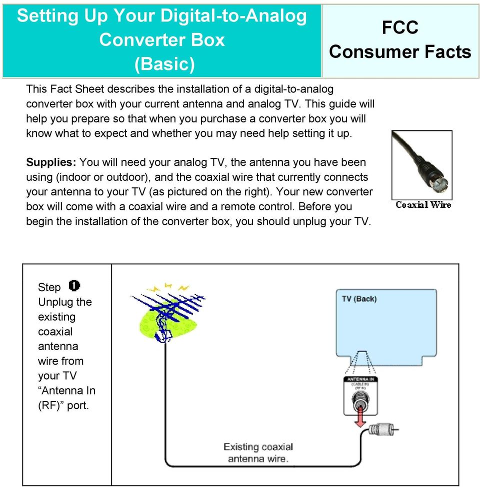 Setting Up Your Digital To Analog Converter Box Basic Fcc Consumer Wiring Existing Supplies You Will Need Tv The Antenna Have Been Using