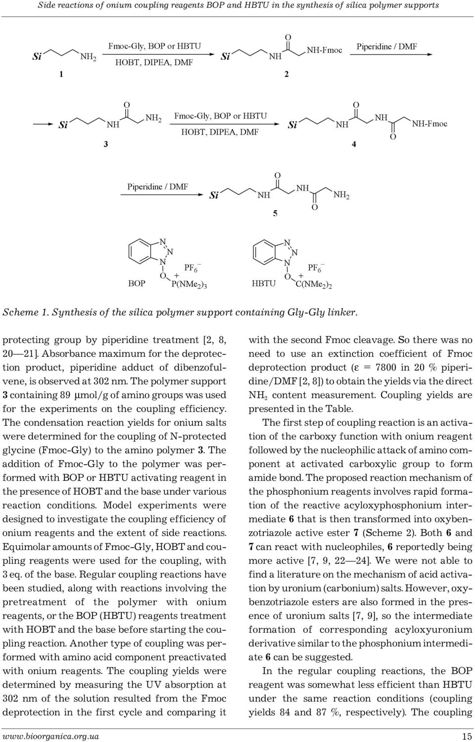 protecting group by piperidine treatment [2, 8, 20 21]. Absorbance maximum for the deprotection product, piperidine adduct of dibenzofulvene, is observed at 302 nm.