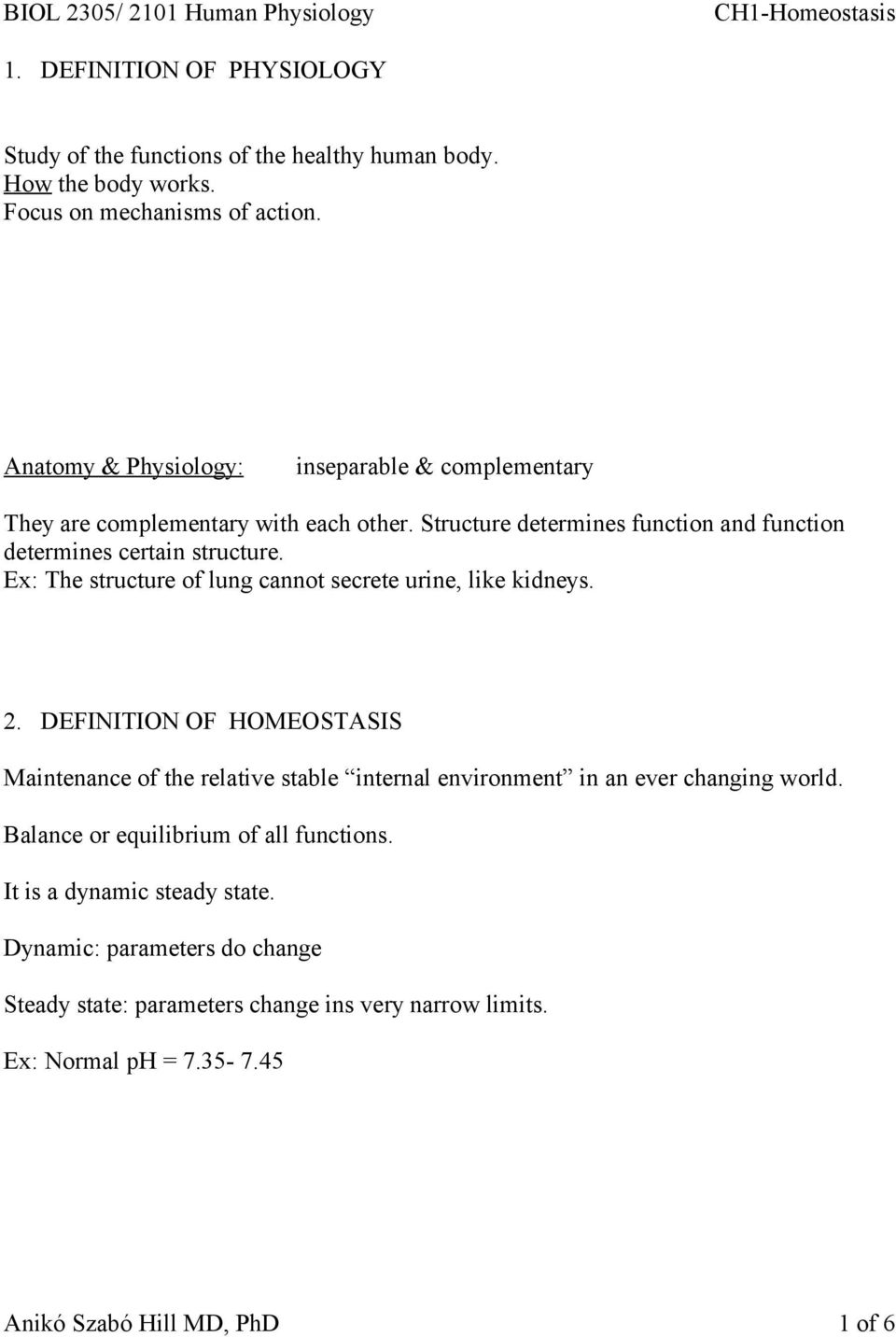 1 Definition Of Physiology Study Of The Functions Of The Healthy