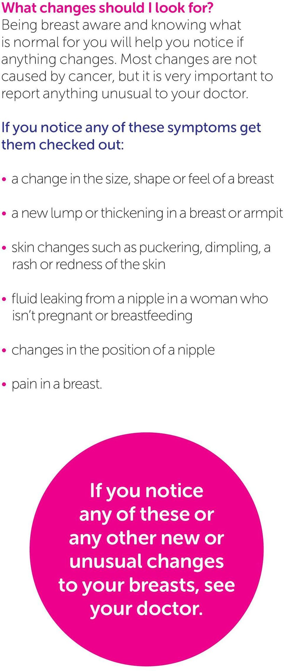 If you notice any of these symptoms get them checked out: a change in the size, shape or feel of a breast a new lump or thickening in a breast or armpit skin changes such