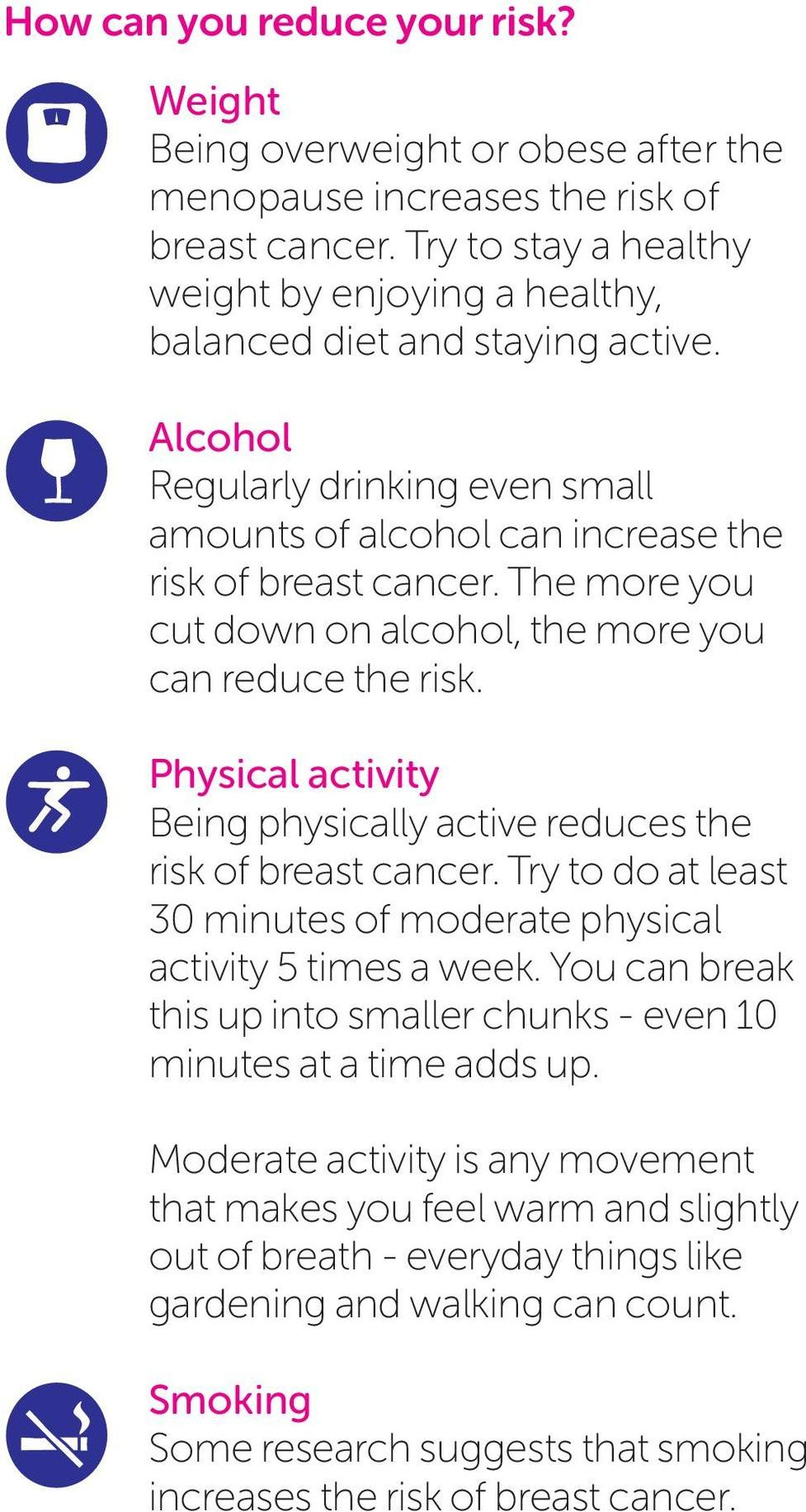 The more you cut down on alcohol, the more you can reduce the risk. Physical activity Being physically active reduces the risk of breast cancer.